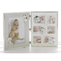 Double Trouble Satin and Gloss Baby Large Folding Open Photo Frame for Wall or Standing